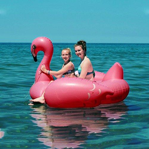 Wishtime galleggiante gigante gonfiabile pool flamingo estate galleggiante all'aperto island ride sul lounger lilo piscina giochi per bambini e adulti (210x180x130cm)