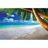 Papel pintado fotográfico de una playa con palmeras y el mar - Fotomural de playa paradisiaca con palmeras –Playa decoración mural XXL 140 cm x 100 cm
