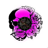 Wanduhr, handgefertigt Zombie-Silhouette Totenkopf Kreative Vinyl-Schallplatten Halloween Party
