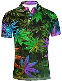L&KK Camiseta Polo 3D para Hombre, Estampados Coloridos De Marihuana con Top Casual De Moda