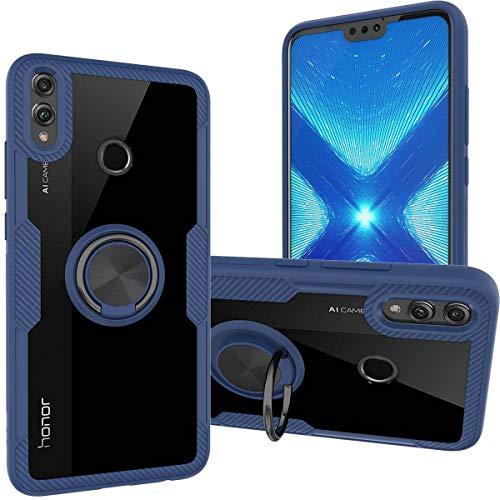 KUAWEI Coque Honor 8X Cover Protection Contre Une Chute de Niveau Militaire Ultra Hybrid Antichoc TPU Silicone-Gel et Couvercle Arrière Transparent Bumper pour Honor 8X 6.5 (Bleu)