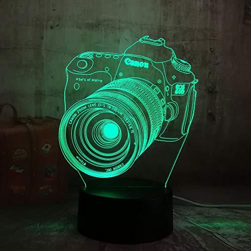 wangZJ 3d Illusion Lampe / 7 Farbwechsel Touch Nachtlicht/Home Decoration Lampe/Touch-Taste/USB-Ladung/Cool 3D-Kamera