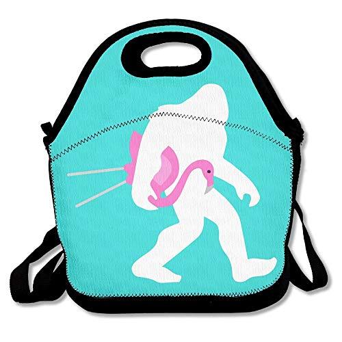 Bigfoot und Rasen Flamingo Mint Green Lunch Bags Isolierte Picknick Lunchbox Tote Handtasche mit Schultergurt für Frauen Teens Mädchen Kinder Erwachsene 16 x 24,40 cm x 60 cm