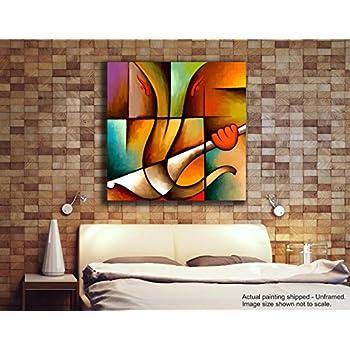 Tamatina Canvas Paintings - Lord Ganesh - Ganesha Paintings - Modern Art Paintings - Paintings for Home Décor - Paintings for Bedroom - Paintings for Living Room - Religious Canvas Paintings - Hindu Paintings for wall