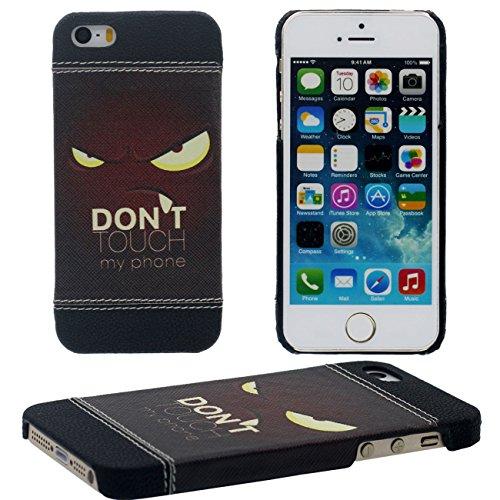 iPhone SE Hülle Case Dünn und Leicht, Schwer Kunststoff 3D Korn Malerei Muster Stil ( Totenkopf ) Hübsch Schutzhülle Handyhülle Apple iPhone 5 5S SE schwarz