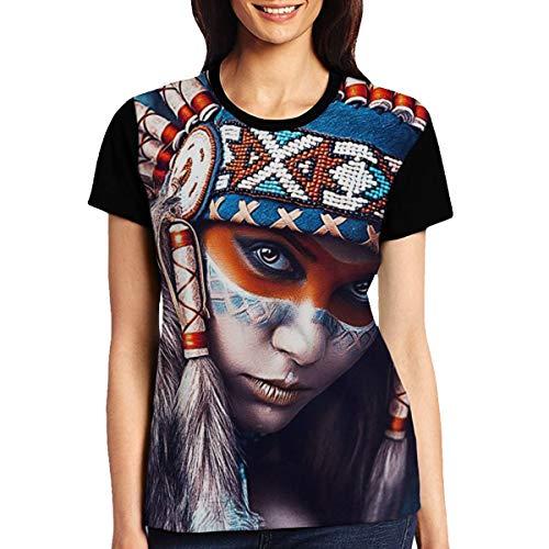 Abigails Home Native American Girl Tattoo Design Frauen Kurzarm T-Shirt Tees Sport Sommer(S,Schwarz) -