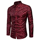 Männer Shirt Slim Fit Streifen Langarm Casual Button Shirts Formale Top Bluse Herren Camouflage Design Seidentuch Langarm-Shirt