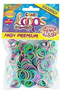 CRAZE Loops 51116 - Juego de 300 Anillos de Silicona para Pulsera, Bandas de Goma, Colores Variados