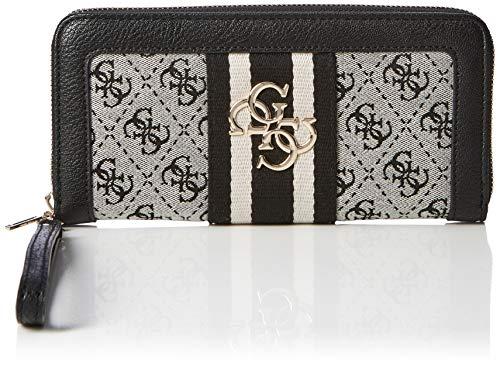 Guess Damen Vintage SLG Lrg Zip Arnd Geldbörse, Weiß (Black), 21x10x2 centimeters