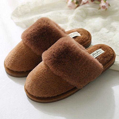 DogHaccd pantofole,Il cotone pantofole indoor uomini e donne anti-slittamento spesso gli amanti di inverno autunno stare a casa con il caldo morbido, scarpe di peluche Il caffè4