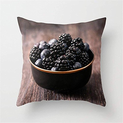 LULABE Food Photography, a Bowl of Berries. Tasty Photo Throw Pillow Cushion Cover for Couch Sofa Or Bed Set Cozy Home Decor Size:18 X 18 Inches/45cm x 45cm Gold Berry Bowl