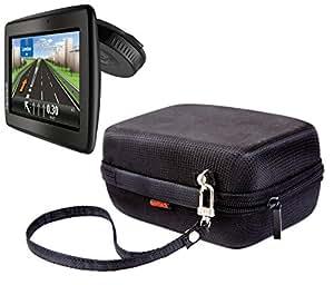 NAVITECH - Housse/coque de protection pour GPS, noire en nylon EVA, espace pour le chargeur allume-cigare et le câble USB, pour le TomTom Via 135 5 pouces