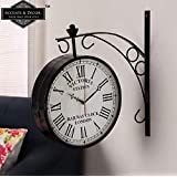 ACCENTS & DECOR Iron Victoria Station Retro Double Side Wall Clock for Bedroom Living Room Home (10 Inch, Black)