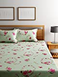 Bombay Dyeing Elements 120 TC Polycotton Double Bedsheet with 2 Pillow Covers - Green