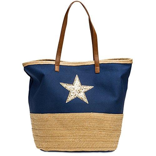 CASPAR TS1041 Sac de plage XXL en toile de jute pour femme - Sac shopping stylé avec décor raphia et étoile à paillettes, Couleur:bleu foncé;Taille:One Size
