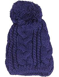 Amurleopard Bonnet tricot a pompon homme femme chapeau unisexe hiver chaud Bleu Fonce taille unique