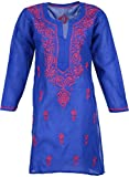 Lucknow Creations Women's Cotton Kurta (Royal Blue and Pink)