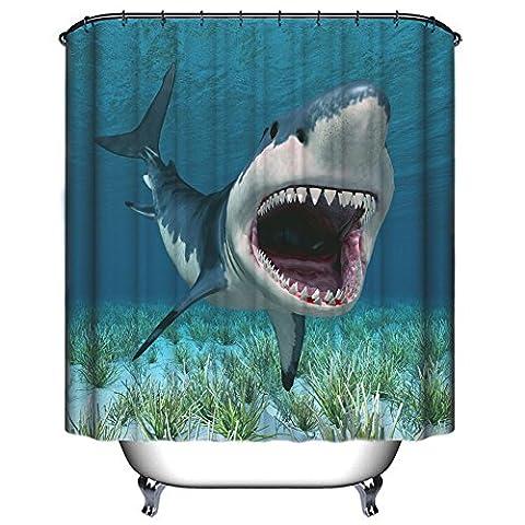 Wasserdichte Duschvorhang, Chickwin Hochwertige Qualität Wasserdicht Anti-Schimmel-Effekt Verstärkung Plastikhaken Lebensecht Digitaldruckmuster 100% Polyester 180x180cm (Brüllender Hai - B)