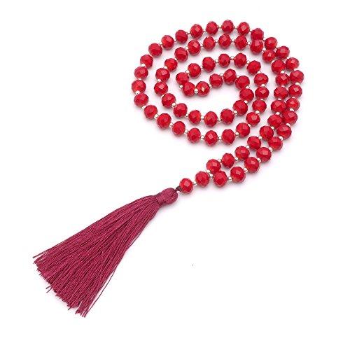 BENAVA Damen Halskette Rot Silber Maxi mit Quaste XXL Kristall Perlenkette Lang 80 cm