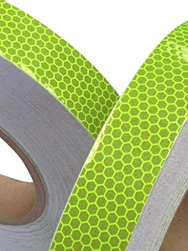 Tuqiang® Reflektierendes Klebeband, stark reflektierend, 25mm x 2,5m, Gelbgrün