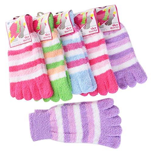 LEORX Zehensocken warme Socken Regenbogen gestreifte Socken–6Paar (zufällige Farbauswahl) (Fuzzy-socken Weiche Gestreifte)