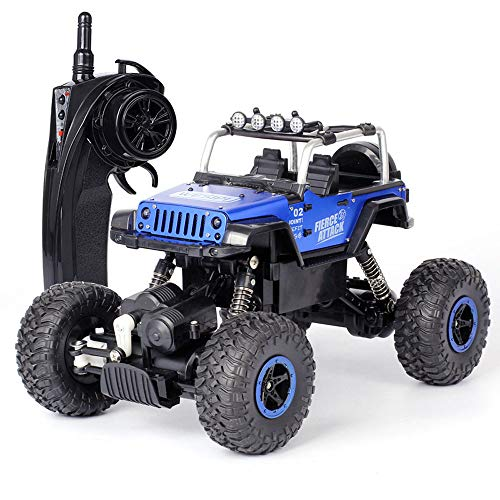 Pinjeer 2.4G 1:18 RC Coche de Alta Velocidad Eléctrica 4CH Hummer Rock Crawlers Racing Car Off-Road Vehículos Buggy Toy con Light Boys Regalos para Niños 7+ (Color : Blue, tamaño : 1-Battery)