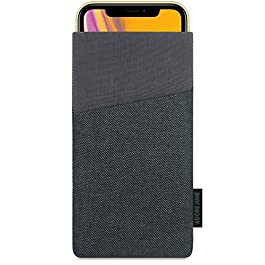 Adore June Apple iPhone XR Case, Pouch [Series Clive] Extra Pocket [Custom Made] Fabric Sleeve [Display Cleaning Effect] for iPhone XR [Black/Grey]