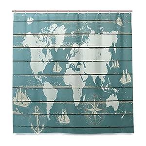 JSTEL – Cortina de ducha con diseño de mapa del mundo con brújula resistente al moho y resistente al agua, tejido de poliéster, 182,88 x 182,88 cm, para el hogar, extra larga, para baño, decorativa, con 12 ganchos
