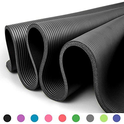 Glamexx24 XXL Fitnessmatte Yogamatte Pilatesmatte Gymnastikmatte EXTRA-dick und weich, ideal für Pilates, Gymnastik und Yoga Schwarz