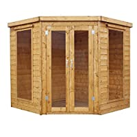 WALTONS EST. 1878 7x7 Wooden Corner Garden Summerhouse, Shiplap Construction - Dip Treated with 10 year guarantee. Includes Double Doors, Flat Roof, Floor & Roof Felt and Styrene Safety Windows (7 x 7 / 7Ft x 7Ft)
