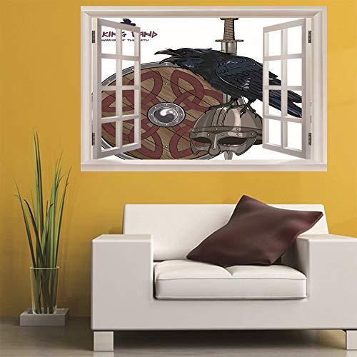 3D Fenster Wandtattoo Wandaufkleber Raven helm (60X90 Cm) Schlafzimmer Zimmer Landschaft kinderzimmer Wanddekoration Dekoration (Kinder Ravens Helm)