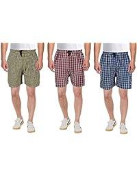 KGD Exports Men's Cotton Shorts (Multicolour, Large) -Combo of 3
