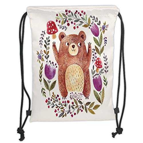 OQUYCZ Drawstring Sack Backpacks Bags,Watercolor Flower,Illustration of Happy Little Bear in Frame of Flowers Musrooms Wreath Art,Purple Green Soft Satin,5 Liter Capacity,Adjustable String Clo