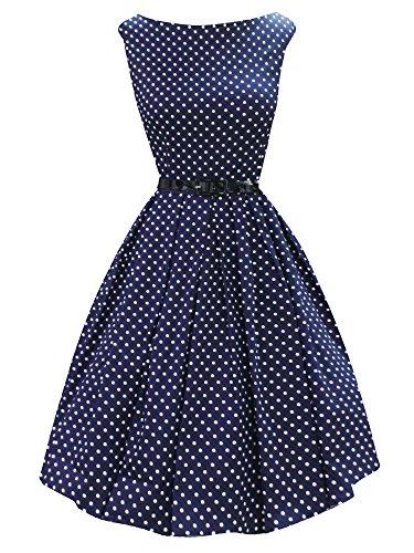 iLover Vintage Hepburn Polka Dots pin-up robe 50s 60s de soirée cocktail années 50 à pois NavyDots
