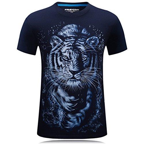 Men's Hip Hop Camiseta Animals 3D Printed T Shirt Navy 8