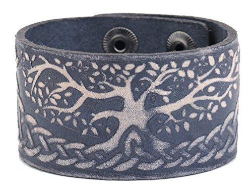 Extended hebilla de aleación de puño pulseras de piel de árbol de la vida Wicca color mezclado Unisex joyas accesorios