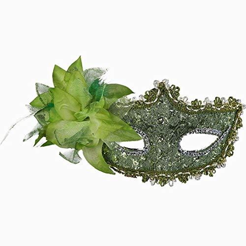 Halloween Kostüm Mascarada - Xiton Frauen Venedig Sexy Spitzen-Maske mit Strass Kostüm Masquerade Maske für Karneval, anonyme venezianischen Karnevalsmaske und Tanz, grün