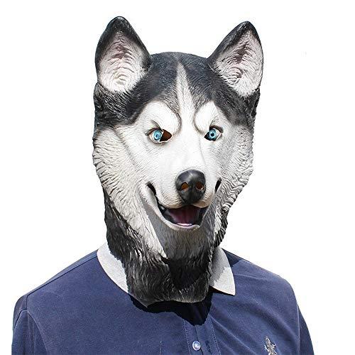 Zwei Der Kostüm Gesicht Jugend - WENQU Halloween party party respektables COS Maske Schneeleopard dog pet Latexmaske lustig (Color : 2, Size : One size)