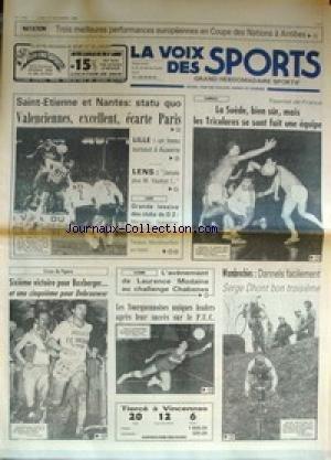 VOIX DES SPORTS (LA) [No 1770] du 22/12/1980 - NATATION - COUPE DES NATIONS A ANTIBES - ST-ETINNES - NANTES - VALENCIENNES - PARIS - LILLE - LENS - HANDBALL - LA SUEDE - LES TRICOLORES - WAMBRECHIES - DANNELS - SERGE DHONT - LAURENCE MODAINE - CROSS DU FIGARO - BOXBERGER - DEBROUVER - CYCLO-CROSS - DANNELS - PERRET - DHONT - MARQUETTE-EN-OSTREVENT - LAUERNT CAILLEAU. par Collectif