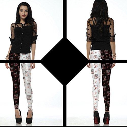 Belsen Femme Deadpool série Leggings élasticité crayon Pantalon Black white with