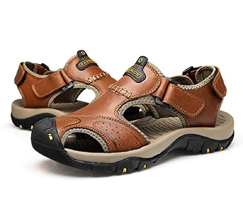 T-Gold Sandales de Randonnée, Sandales Homme cuir de Vachette Marron