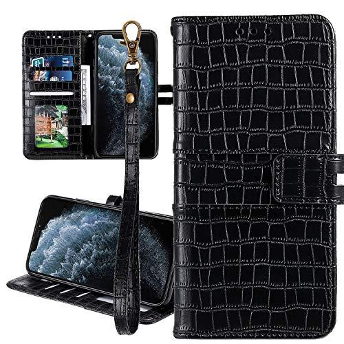 Nadoli Ledertasche für Huawei Honor 20 Lite,Krokodil Muster Luxus Männer Frauen Pu Standfunktion Flip Handy Schutzhülle Brieftasche mit Kartenhalter und Handschlaufe,Schwarz