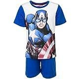 Marvel Avengers - Pigiama Coordinato 2 pezzi Maglia T-shirt Maniche Corte e Pantaloncino - Bambino - Novità Prodotto Originale 4112EQ [Blu - 4 anni - 104 cm]