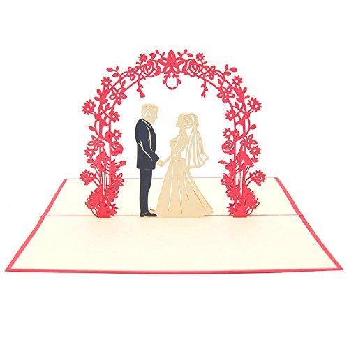 """Favour Pop Up Glückwunschkarte""""Zur Hochzeit"""" – Hochzeitspaar unter Rosenstrauch. Auf kleinstem Raum ein filigranes Kunstwerk. TW023"""