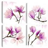 murando - Bilder Blumen 40x40 cm - Vlies Leinwandbild - 4 TLG - Kunstdruck - modern - Wandbilder XXL - Wanddekoration - Design - Wand Bild - Magnolien weiß lila b-A-0259-b-k