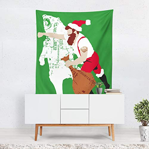 prz0vprz0v Christmas Tapestry, Bear Wall Hanging, Mancave Art, Christmas Decor, Bear Art, Funny Christmas Art, Santa Claus, Green Red Art 40