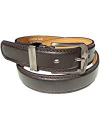Mens Belt with Double Stitched Edge in Black or Tan