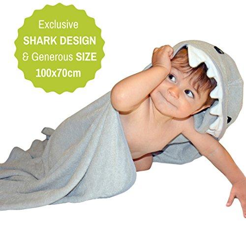 Kapuzenhandtuch Baby Im Hai Design | 100% Bambusfaser | Super Weich und Natürlich Antibakteriell | für Babies und Kleinkind (Wasser-kühler Warenkorb)