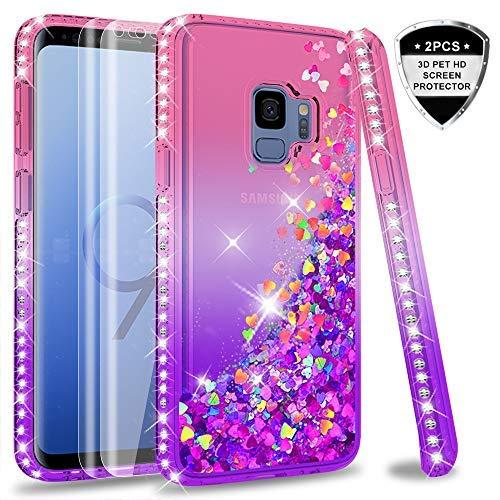 LeYi Hülle Galaxy S9 Glitzer Handyhülle mit Full Cover 3D PET Schutzfolie(2 Stück),Diamond Rhinestone Bumper Schutzhülle für Case Samsung Galaxy S9 Handy Hüllen ZX Gradient Pink Purple - Diamond 2 Handy