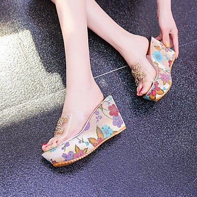 LvYuan Sandalen-Kleid Lässig-Silica Gel-Flacher Absatz Keilabsatz-Komfort-Gold Silber sliver